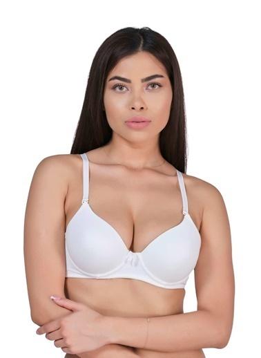 Elif İç Giyim Kadın B Cup Destekli Dolgulu Basic Sütyen Beyaz